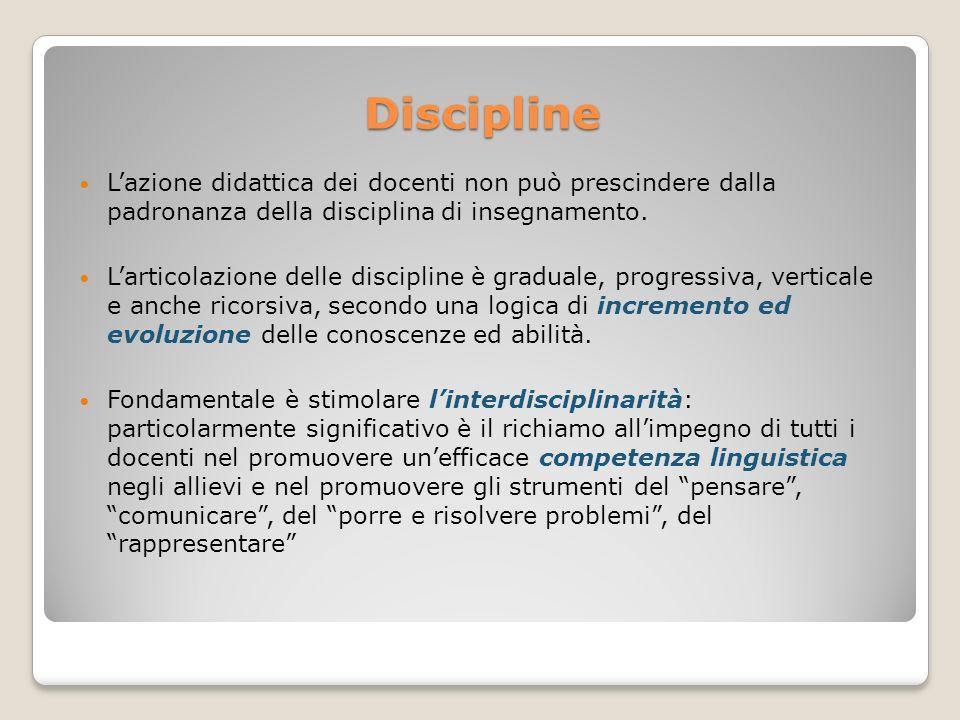 Discipline L'azione didattica dei docenti non può prescindere dalla padronanza della disciplina di insegnamento.