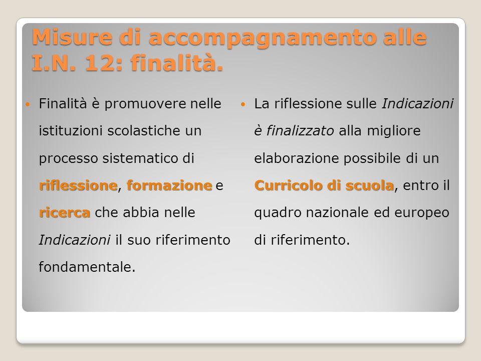 Misure di accompagnamento alle I.N. 12: finalità.