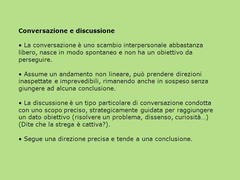 Conversazione e discussione