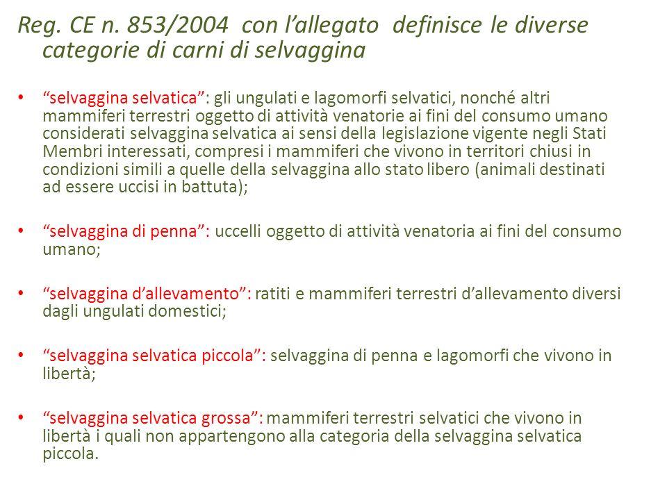 Reg. CE n. 853/2004 con l'allegato definisce le diverse categorie di carni di selvaggina