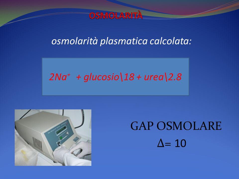 osmolarità plasmatica calcolata: GAP OSMOLARE Δ= 10