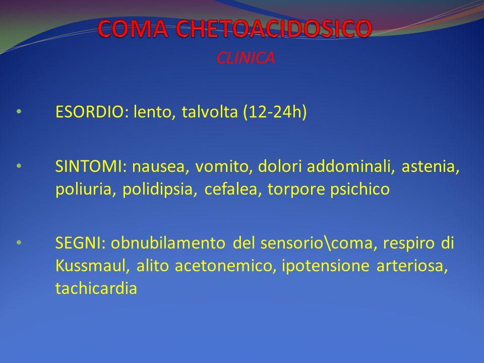 COMA CHETOACIDOSICO CLINICA ESORDIO: lento, talvolta (12-24h)