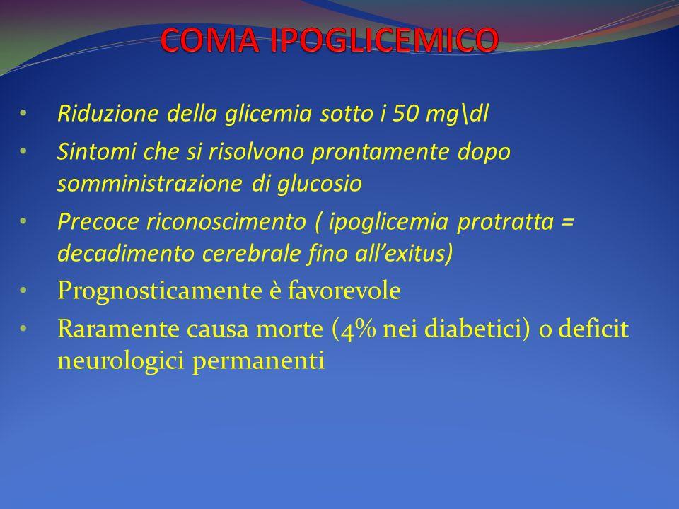 COMA IPOGLICEMICO Riduzione della glicemia sotto i 50 mg\dl
