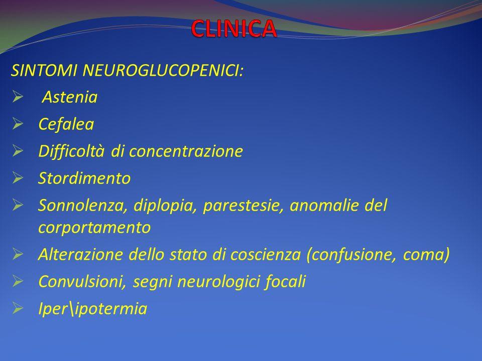 CLINICA SINTOMI NEUROGLUCOPENICI: Astenia Cefalea