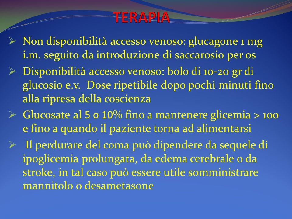 Non disponibilità accesso venoso: glucagone 1 mg i. m