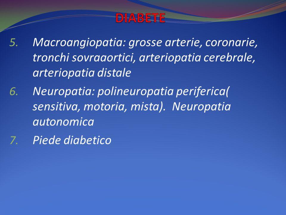 DIABETE Macroangiopatia: grosse arterie, coronarie, tronchi sovraaortici, arteriopatia cerebrale, arteriopatia distale.