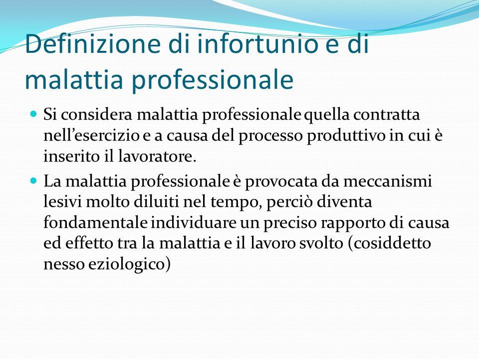 Definizione di infortunio e di malattia professionale