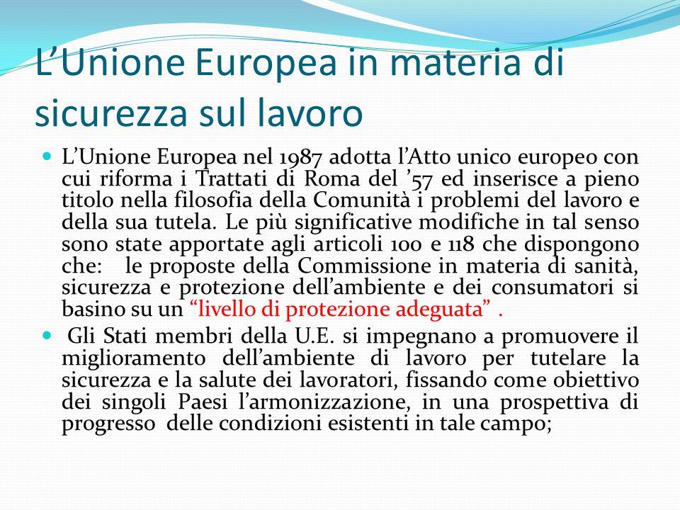 L'Unione Europea in materia di sicurezza sul lavoro