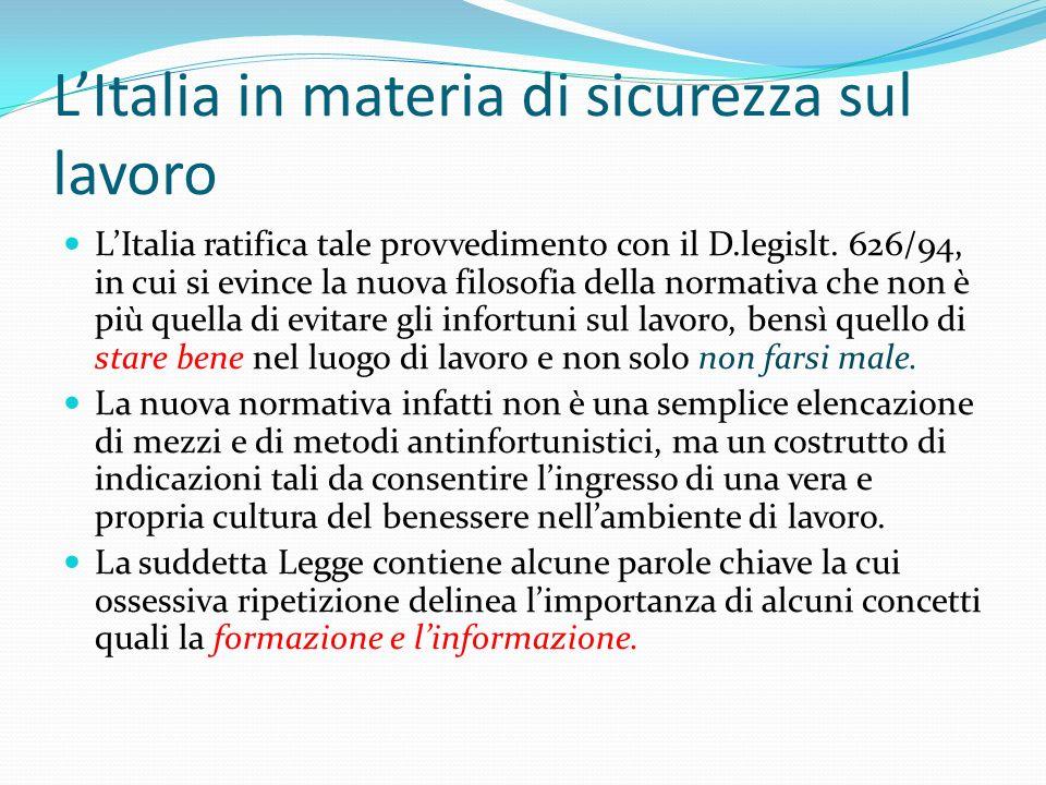 L'Italia in materia di sicurezza sul lavoro