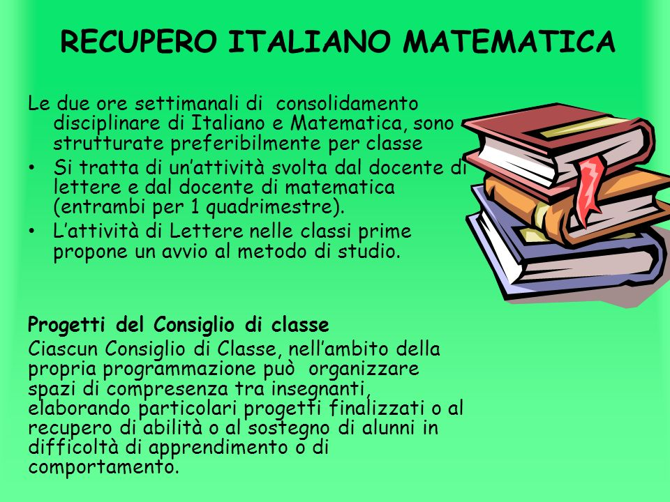 RECUPERO ITALIANO MATEMATICA