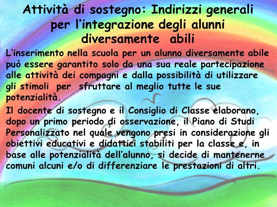 Attività di sostegno: Indirizzi generali per l'integrazione degli alunni diversamente abili