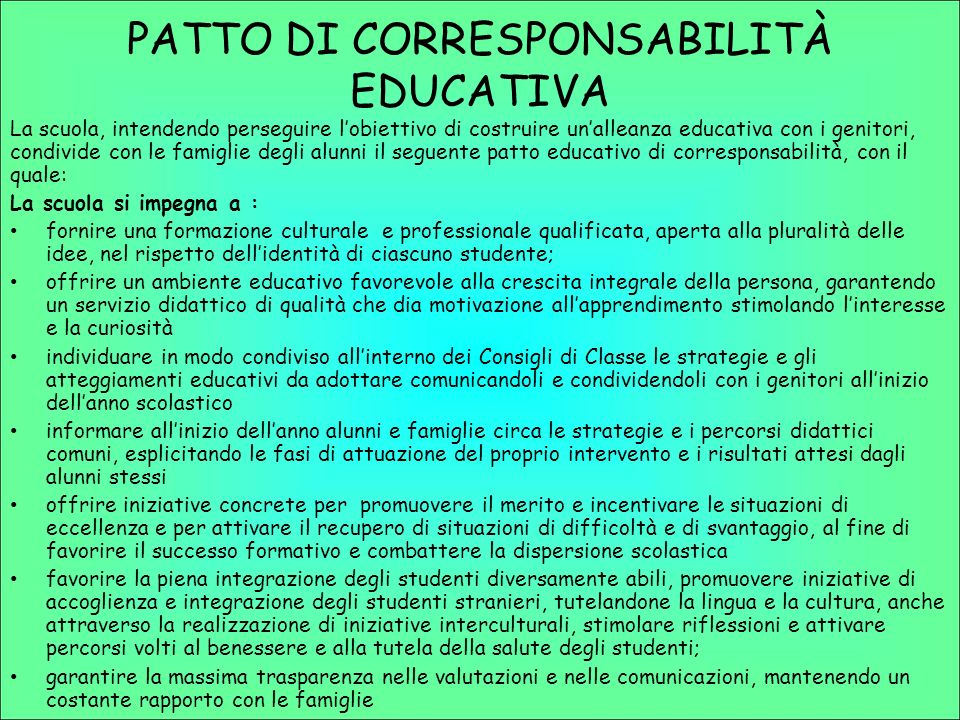 PATTO DI CORRESPONSABILITÀ EDUCATIVA