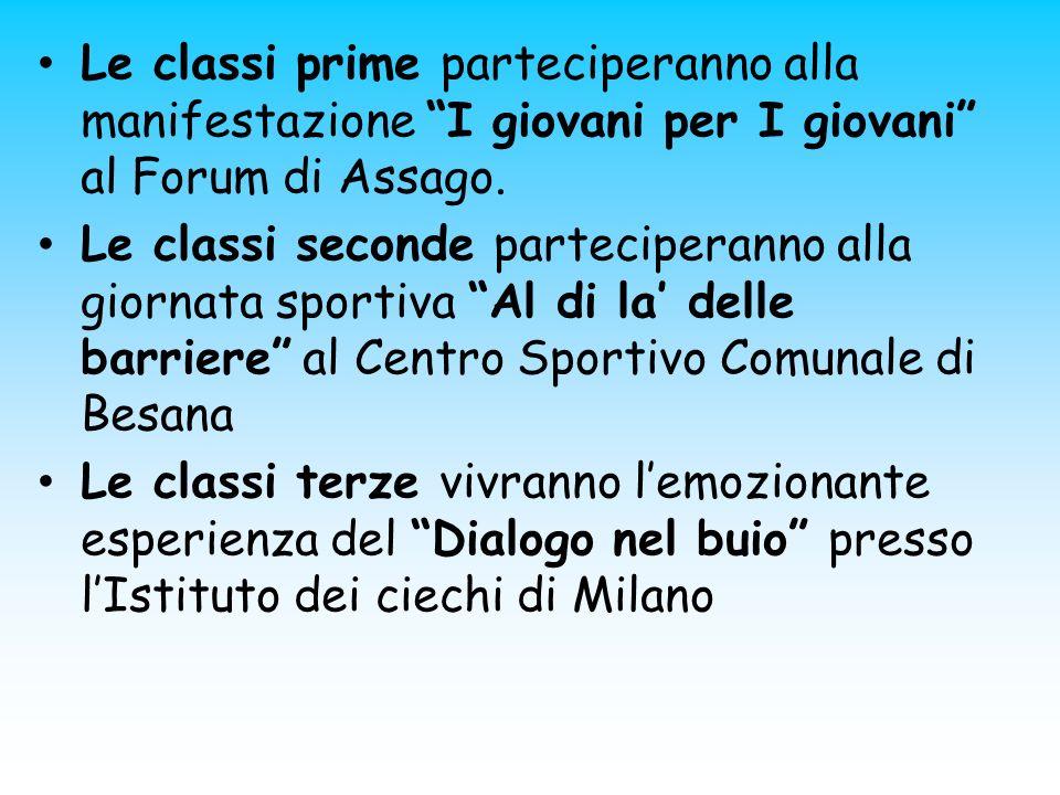 Le classi prime parteciperanno alla manifestazione I giovani per I giovani al Forum di Assago.