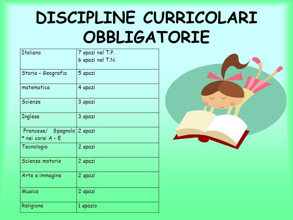 DISCIPLINE CURRICOLARI OBBLIGATORIE