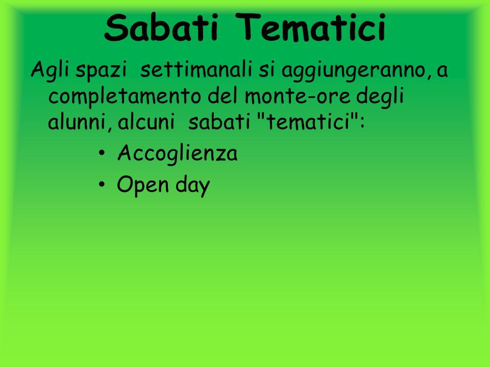 Sabati Tematici Agli spazi settimanali si aggiungeranno, a completamento del monte-ore degli alunni, alcuni sabati tematici :