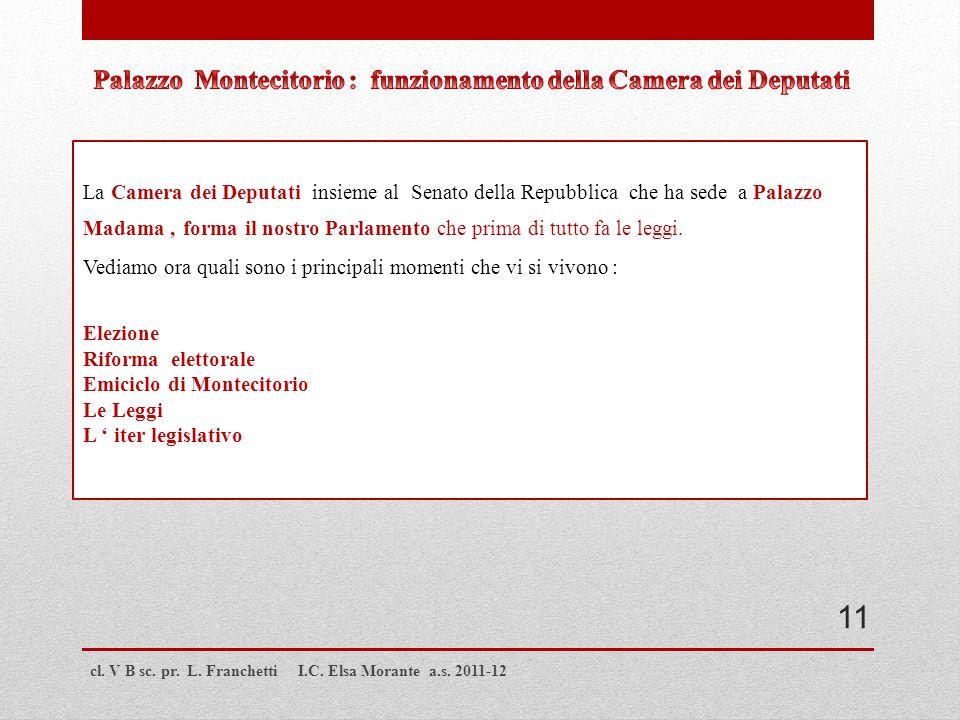 Palazzo Montecitorio : funzionamento della Camera dei Deputati