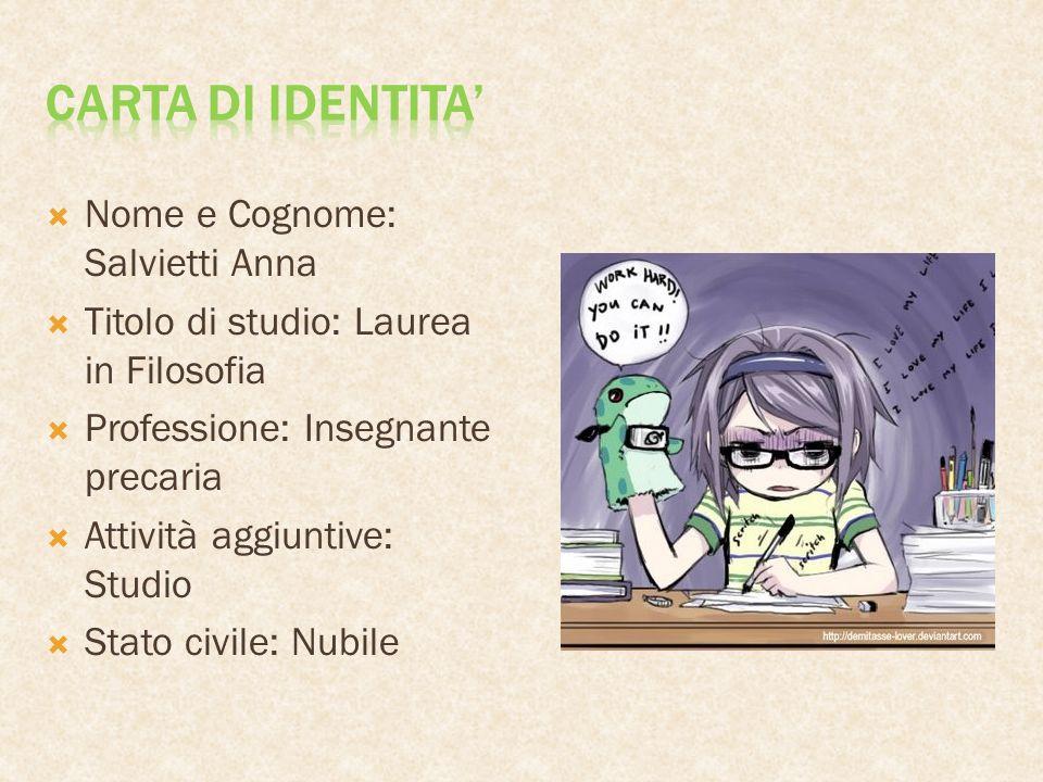 Carta di identita' Nome e Cognome: Salvietti Anna
