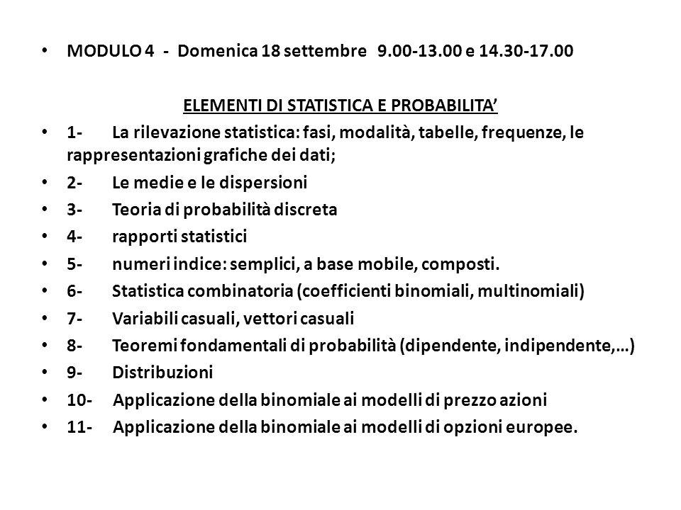 ELEMENTI DI STATISTICA E PROBABILITA'