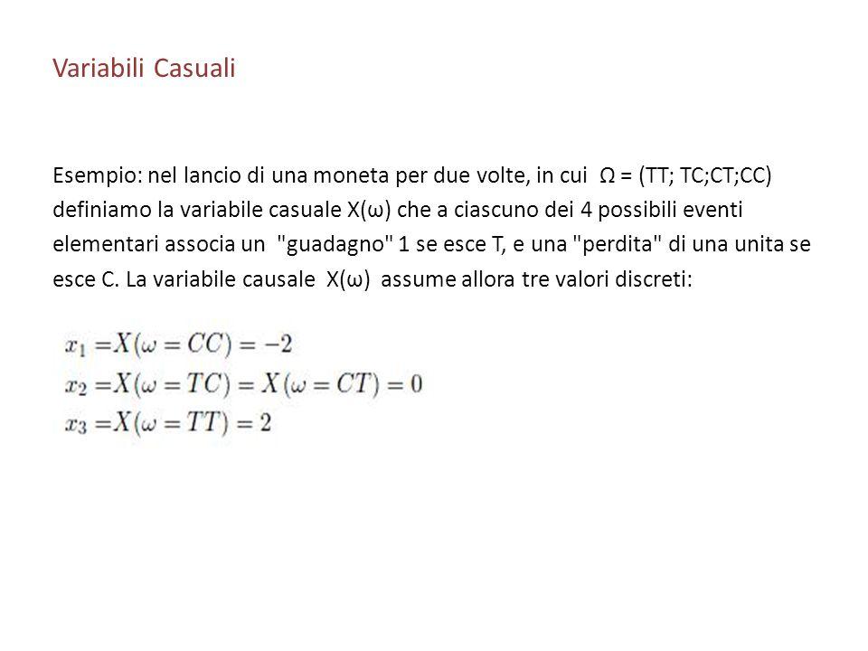 Variabili Casuali Esempio: nel lancio di una moneta per due volte, in cui Ω = (TT; TC;CT;CC)