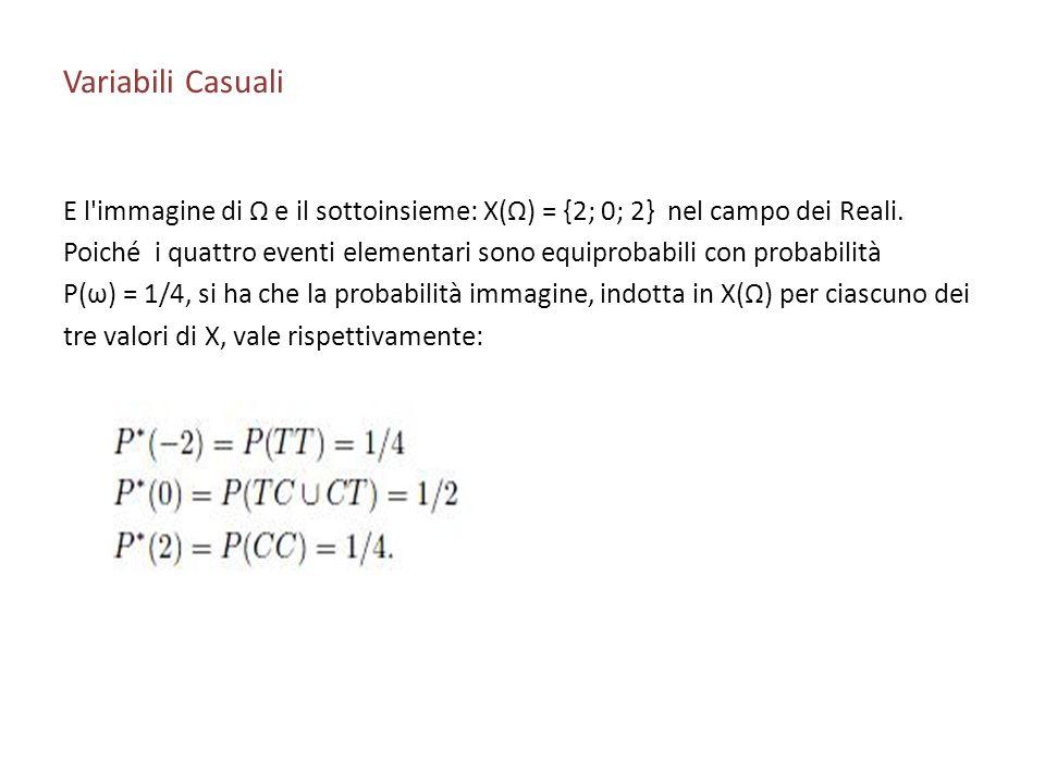 Variabili Casuali E l immagine di Ω e il sottoinsieme: X(Ω) = {2; 0; 2} nel campo dei Reali.