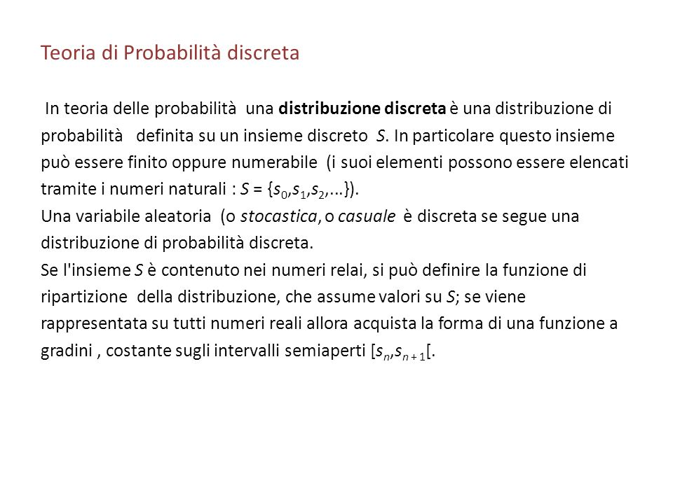 Teoria di Probabilità discreta