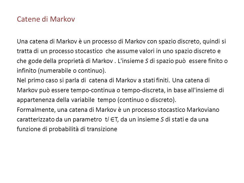 Catene di Markov Una catena di Markov è un processo di Markov con spazio discreto, quindi si.