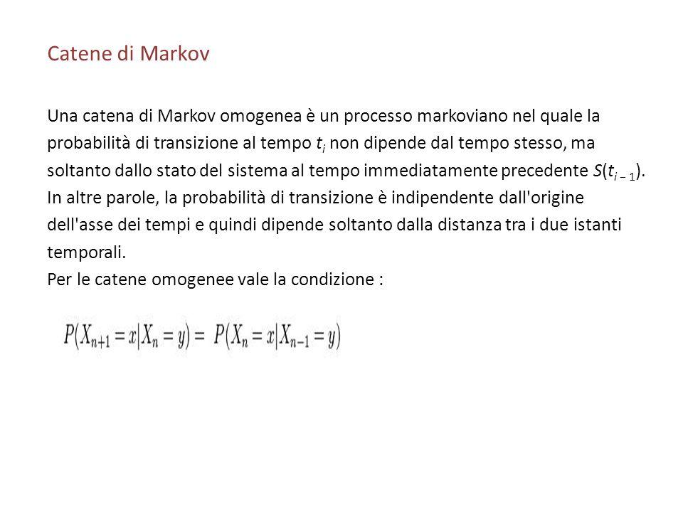 Catene di Markov Una catena di Markov omogenea è un processo markoviano nel quale la.