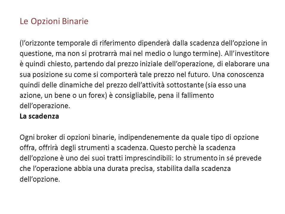 Le Opzioni Binarie (l'orizzonte temporale di riferimento dipenderà dalla scadenza dell'opzione in.