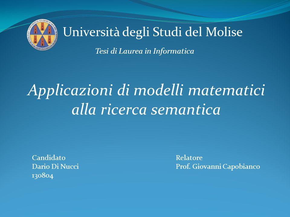 Applicazioni di modelli matematici alla ricerca semantica