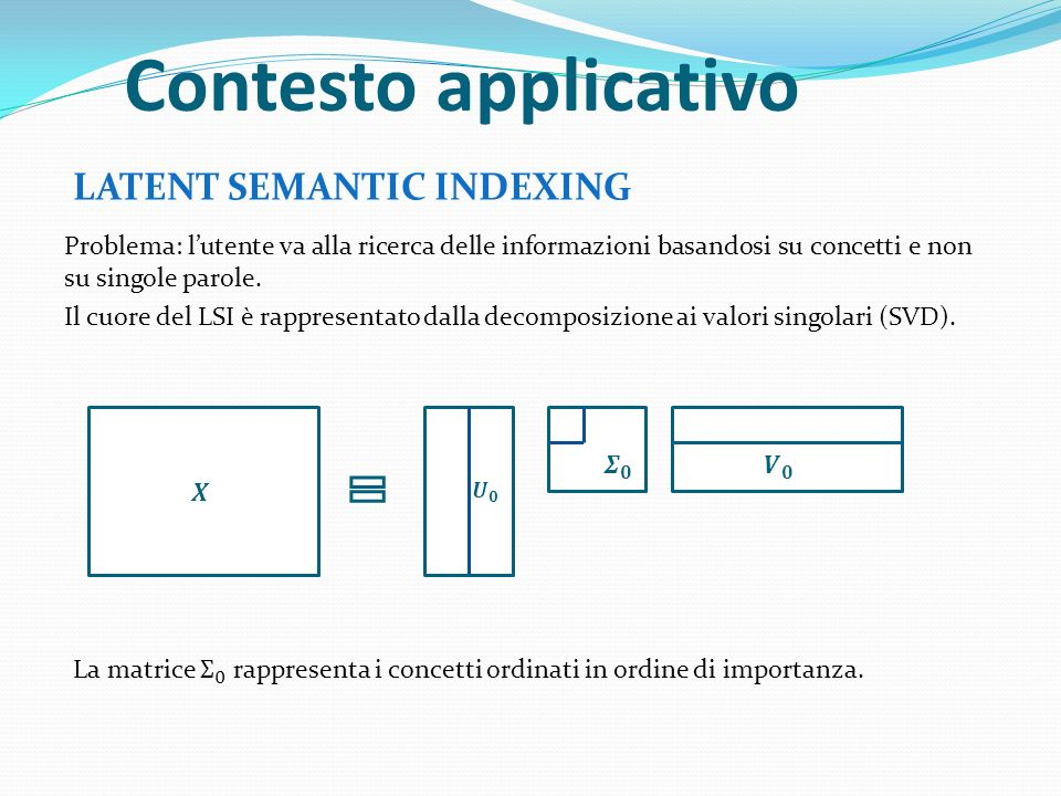 Contesto applicativo LATENT SEMANTIC INDEXING