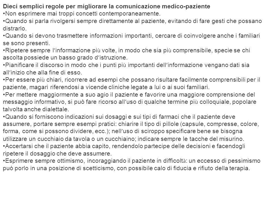 Dieci semplici regole per migliorare la comunicazione medico-paziente