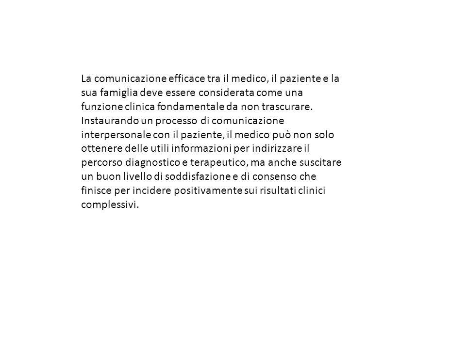 La comunicazione efficace tra il medico, il paziente e la sua famiglia deve essere considerata come una funzione clinica fondamentale da non trascurare.