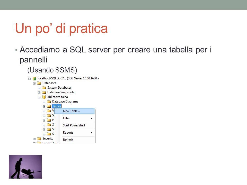 Un po' di pratica Accediamo a SQL server per creare una tabella per i pannelli (Usando SSMS)