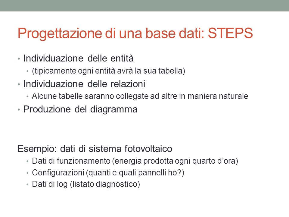 Progettazione di una base dati: STEPS