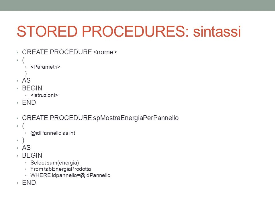 STORED PROCEDURES: sintassi