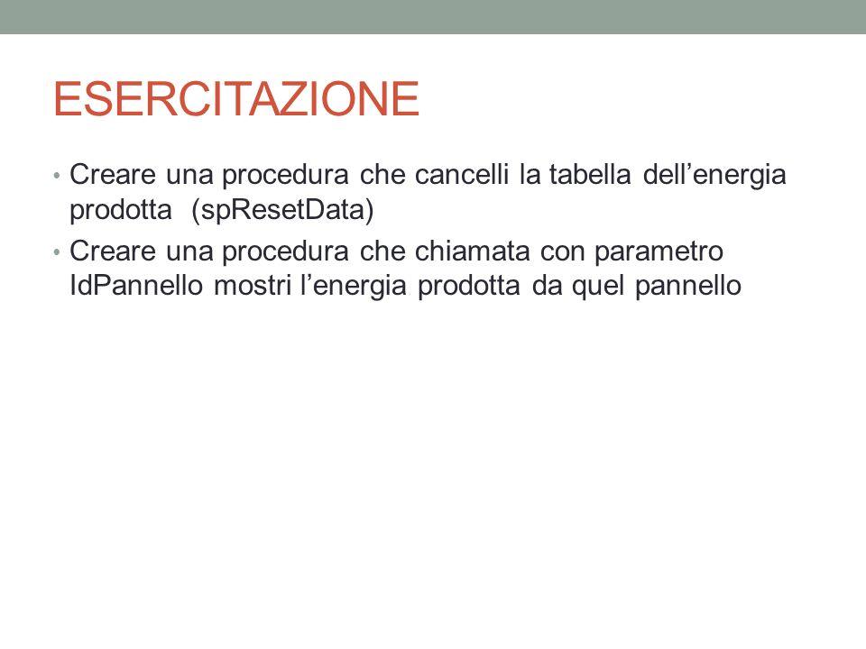 ESERCITAZIONE Creare una procedura che cancelli la tabella dell'energia prodotta (spResetData)