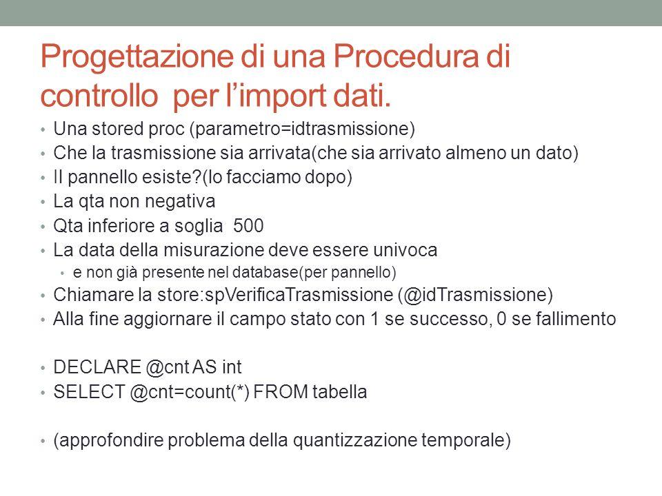 Progettazione di una Procedura di controllo per l'import dati.