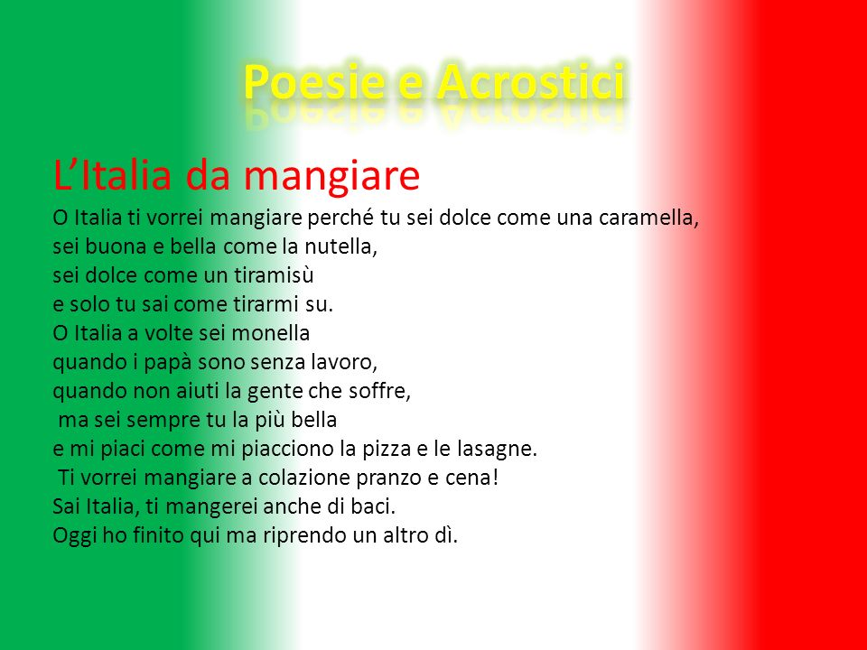 Poesie e Acrostici L'Italia da mangiare