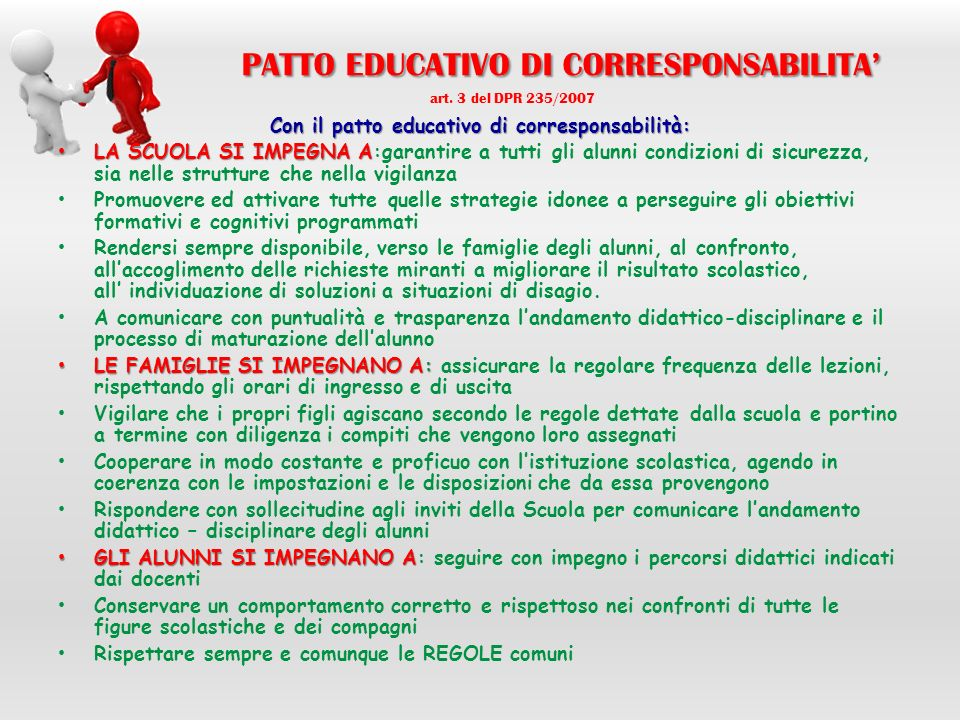 PATTO EDUCATIVO DI CORRESPONSABILITA' art. 3 del DPR 235/2007