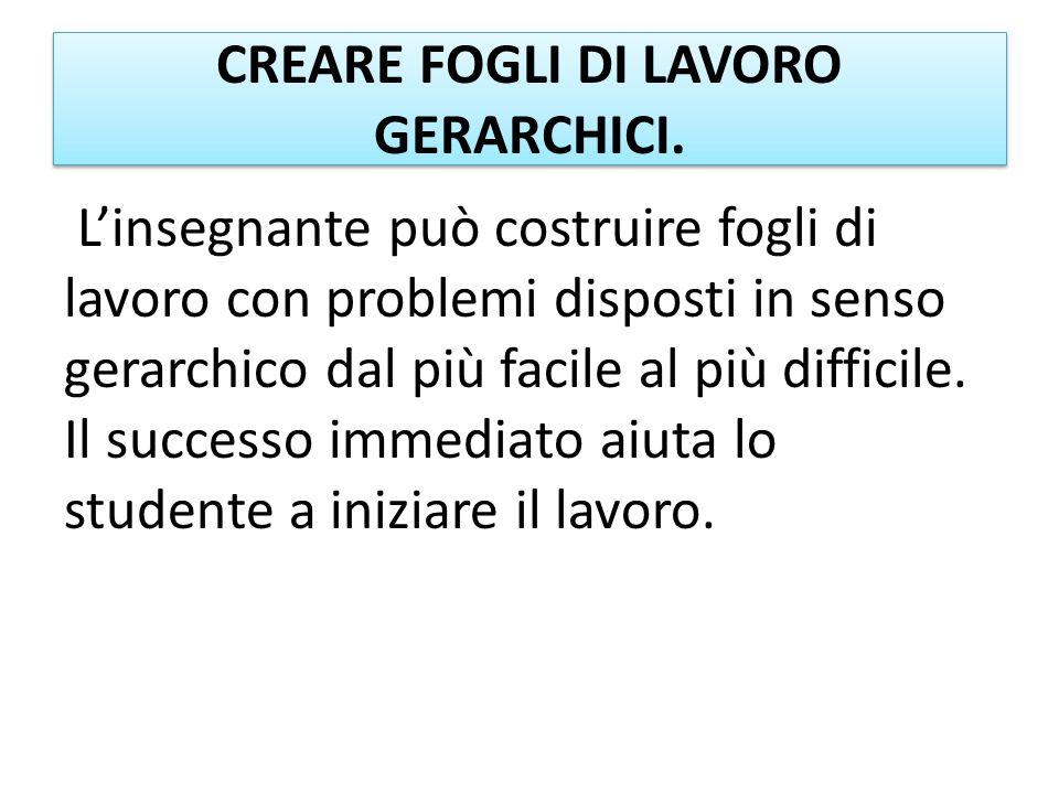CREARE FOGLI DI LAVORO GERARCHICI.