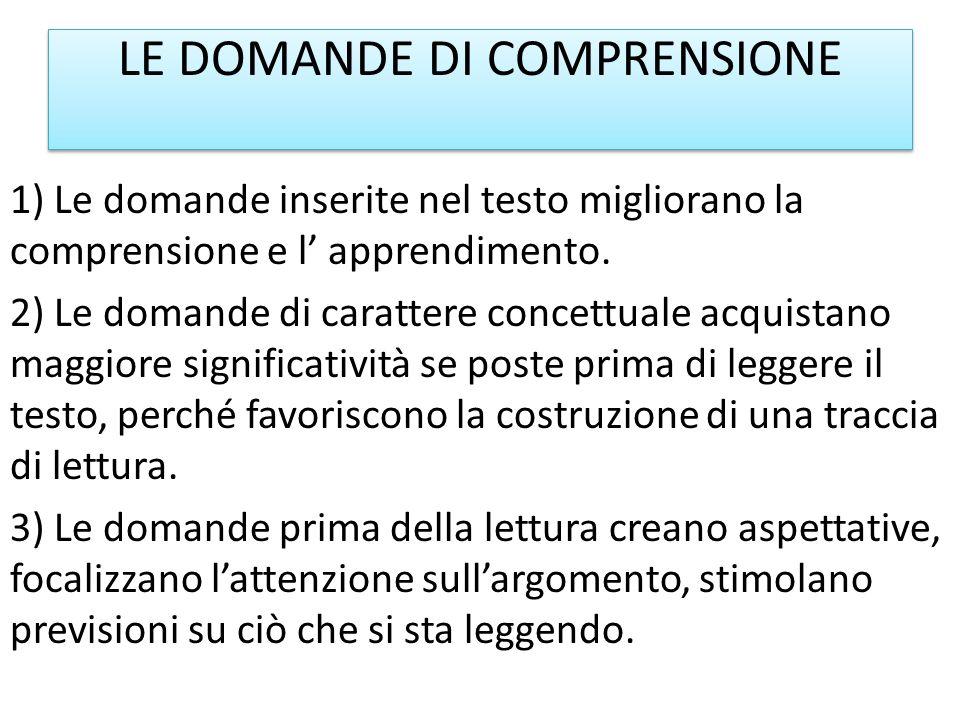 LE DOMANDE DI COMPRENSIONE