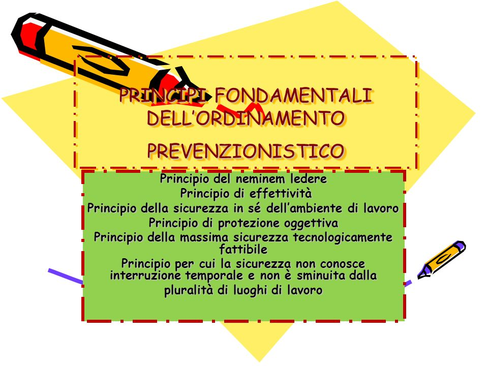 PRINCIPI FONDAMENTALI DELL'ORDINAMENTO PREVENZIONISTICO