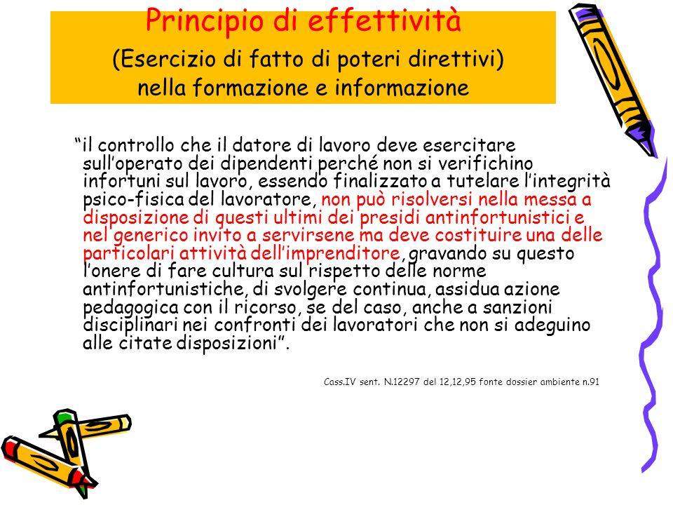 Principio di effettività (Esercizio di fatto di poteri direttivi) nella formazione e informazione
