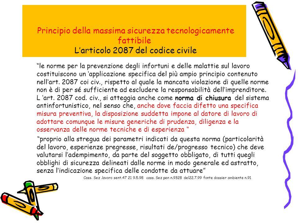 Principio della massima sicurezza tecnologicamente fattibile L'articolo 2087 del codice civile