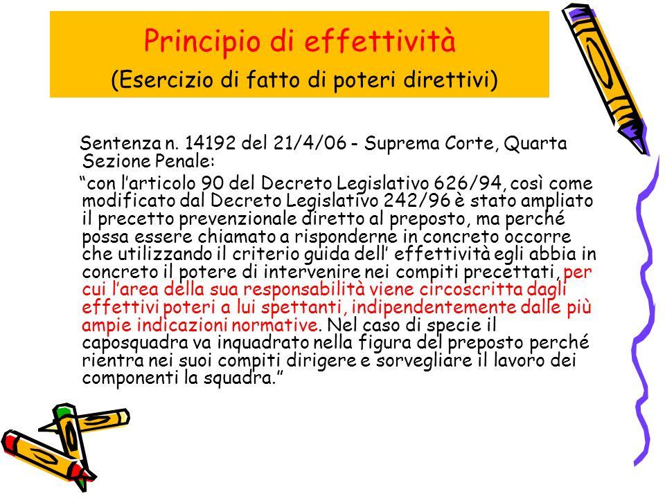 Principio di effettività (Esercizio di fatto di poteri direttivi)