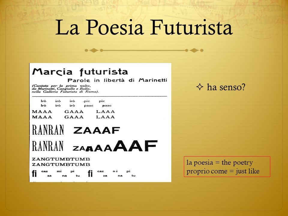 La Poesia Futurista ha senso la poesia = the poetry