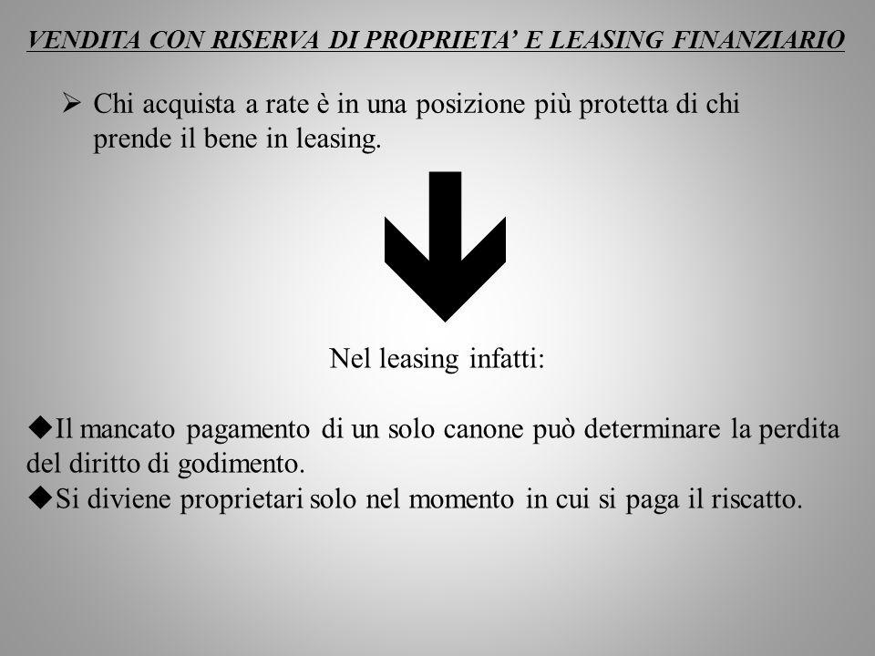 VENDITA CON RISERVA DI PROPRIETA' E LEASING FINANZIARIO