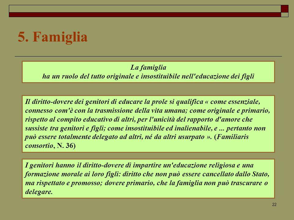5. Famiglia La famiglia. ha un ruolo del tutto originale e insostituibile nell educazione dei figli.