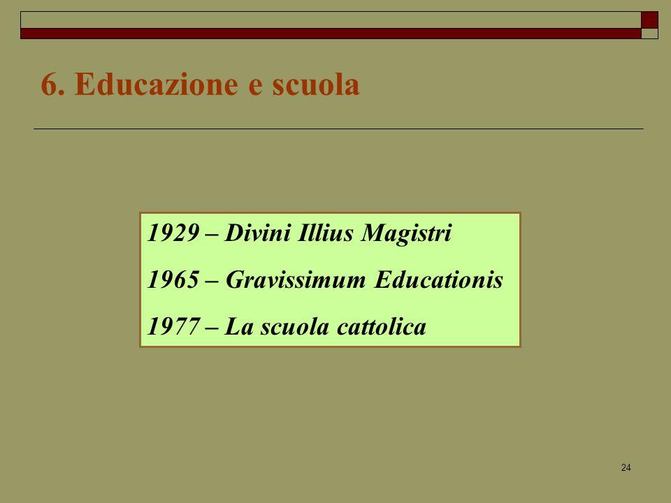 6. Educazione e scuola 1929 – Divini Illius Magistri