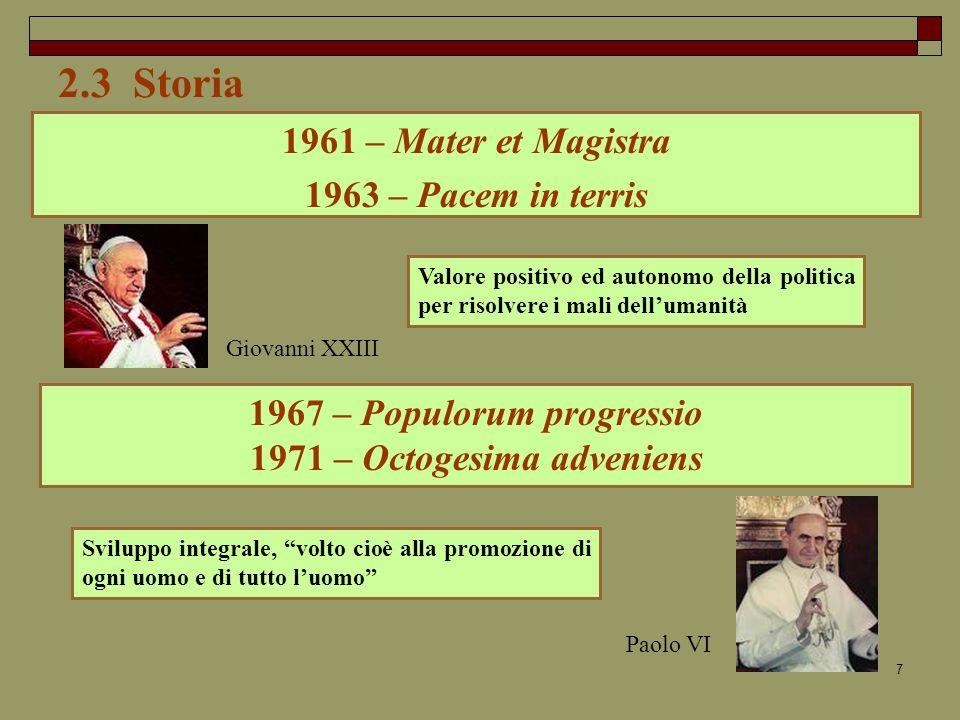 2.3 Storia 1961 – Mater et Magistra 1963 – Pacem in terris